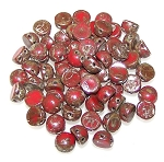 7.5 Grams of 6mm Czech Glass 2-Hole Cabochon Beads - Opaque Red Picasso